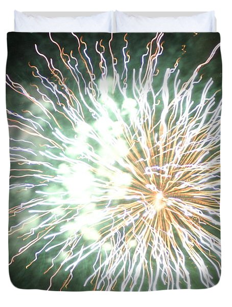 Duvet Cover featuring the digital art Fireworks In The Park 4 by Gary Baird