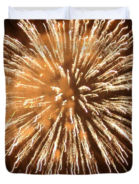 Duvet Cover featuring the digital art Fireworks In The Park 5 by Gary Baird