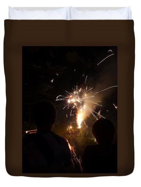 Duvet Cover featuring the photograph Fireworks by Margie Avellino