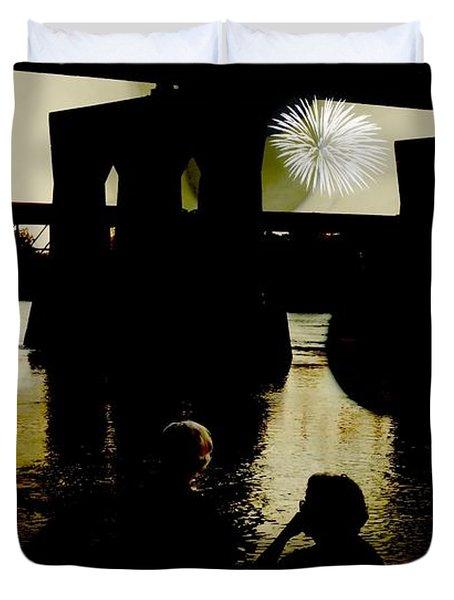 Fireworks On The River Duvet Cover