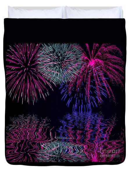 Fireworks Over Open Water 1 Duvet Cover by Naomi Burgess