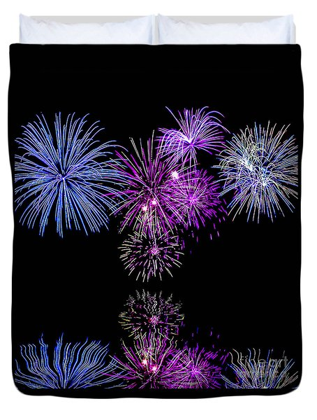 Fireworks Over Open Water 2 Duvet Cover by Naomi Burgess