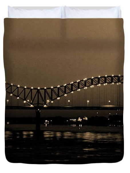 Fireworks Over The Mississippi Duvet Cover