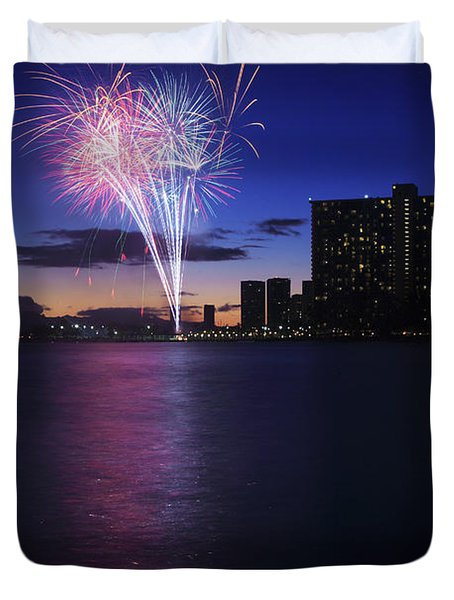 Fireworks Over Waikiki Duvet Cover by Brandon Tabiolo - Printscapes