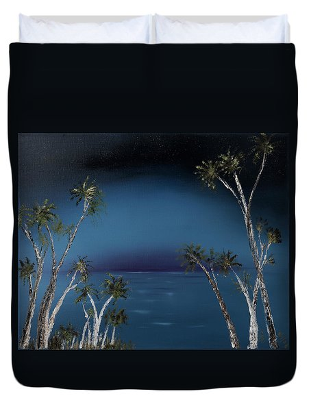 Fireworks Palms Duvet Cover