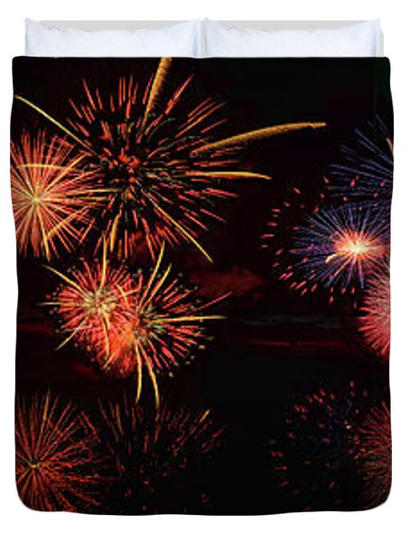 Fireworks Reflection In Water Panorama Duvet Cover