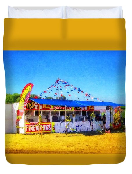 Duvet Cover featuring the photograph Fireworks Stand by Timothy Bulone
