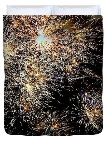 Duvet Cover featuring the photograph Fireworks by Suzanne Stout
