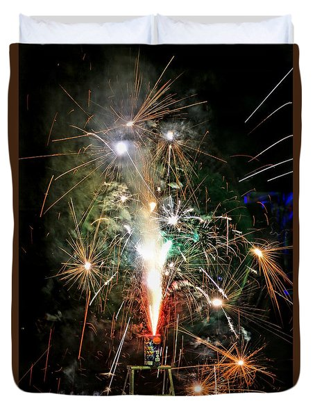 Duvet Cover featuring the photograph Fireworks by Vivian Krug Cotton
