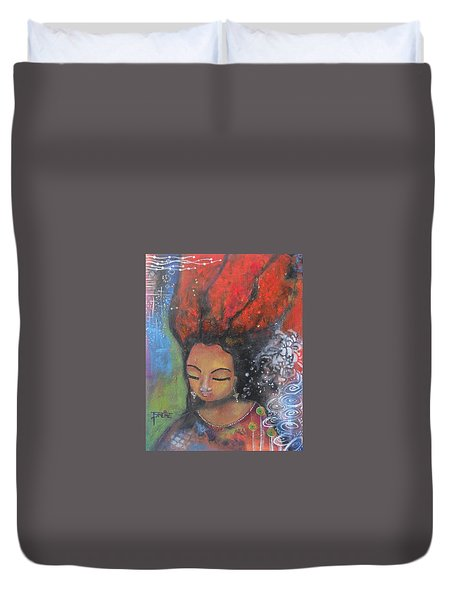 Duvet Cover featuring the painting Firey Hair Girl by Prerna Poojara