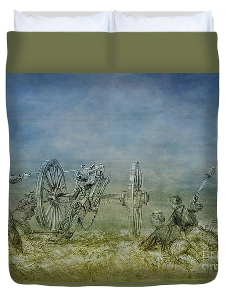 Duvet Cover featuring the digital art Firing Line Cannon Sketch by Randy Steele