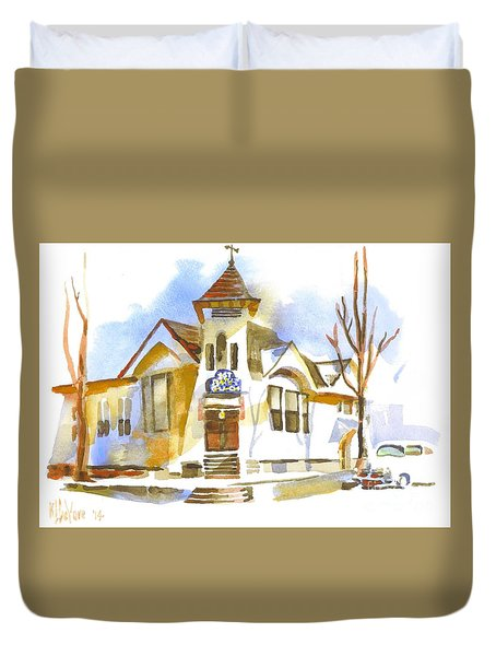 Duvet Cover featuring the painting First Baptist Church In Winter by Kip DeVore