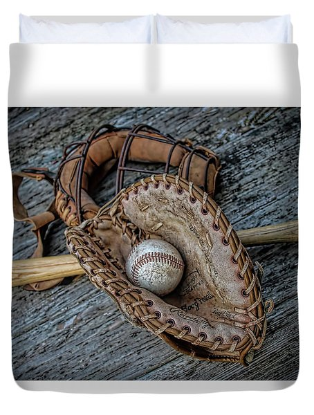 First Base Duvet Cover by Pat Cook