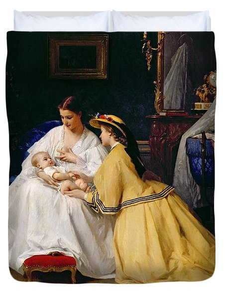 First Born Duvet Cover by Gustave Leonard de Jonghe