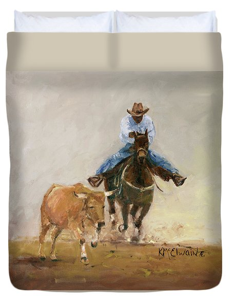 First Bulldogger Bill Picket Oil Painting By Kmcelwaine  Duvet Cover
