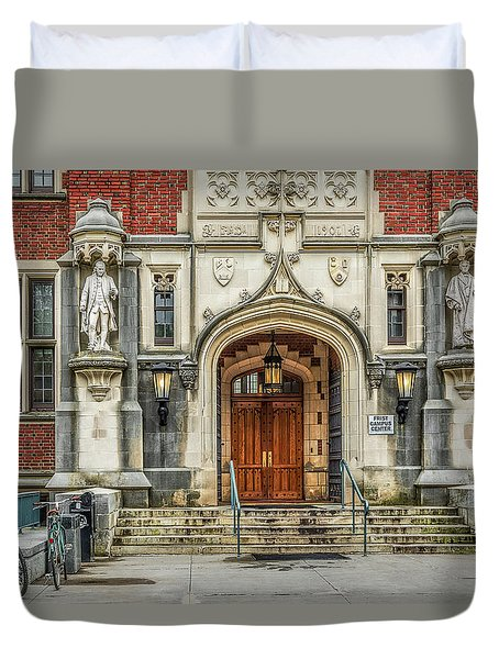 Duvet Cover featuring the photograph First Campus Center Princeton University by Susan Candelario