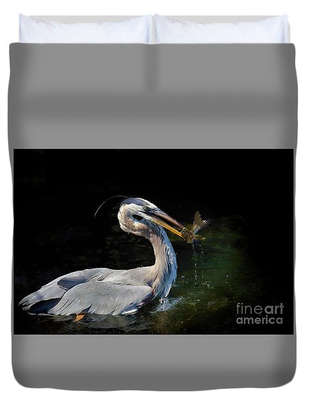 First Catch Of The Day Duvet Cover by Pamela Blizzard