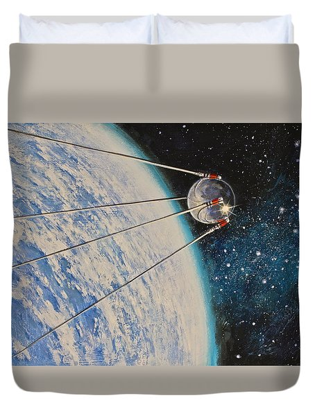 Duvet Cover featuring the painting First by Cliff Spohn