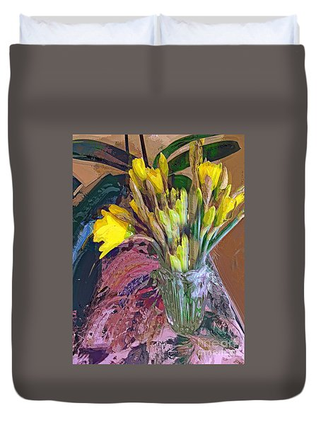 First Daffodils Duvet Cover