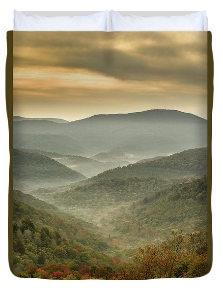 First Day Of Fall Highlands Duvet Cover