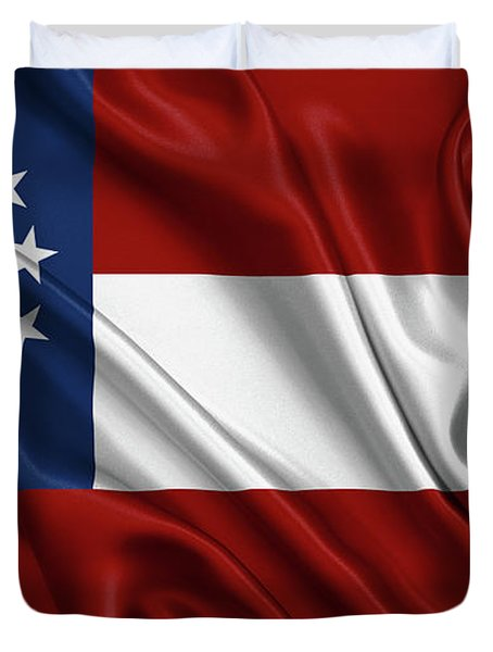 First Flag Of The Confederate States Of America - Stars And Bars 1861-1863 Duvet Cover