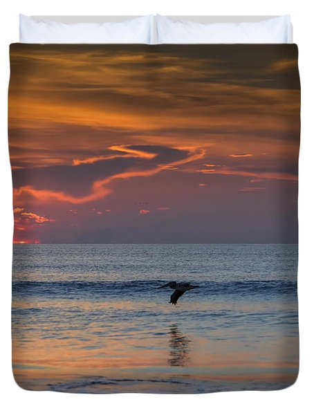 Duvet Cover featuring the photograph First Flight First Light by Steven Sparks