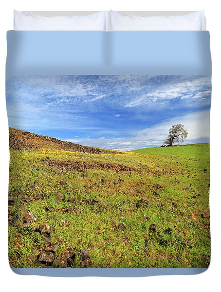 First Flowers On North Table Mountain Duvet Cover by James Eddy