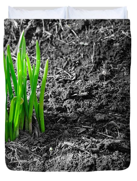 First Green Shoots Of Spring And Dirt Duvet Cover