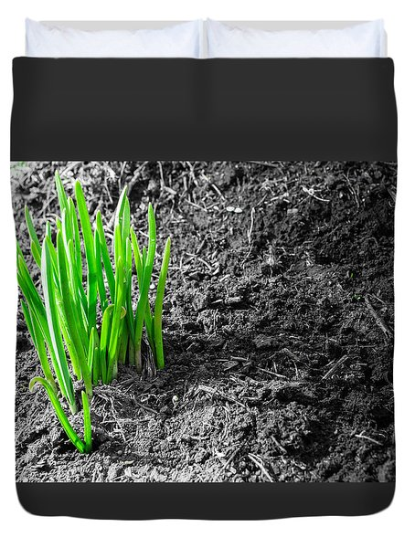 First Green Shoots Of Spring And Dirt Duvet Cover by John Williams