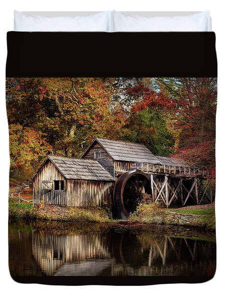 First Light At Mabry Mill Duvet Cover