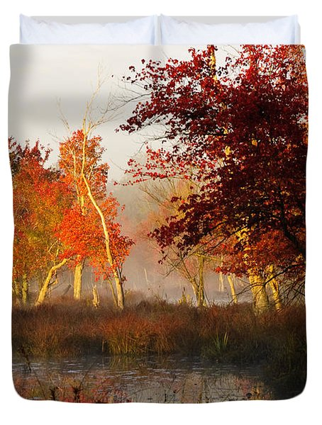First Light At The Pine Barrens Duvet Cover