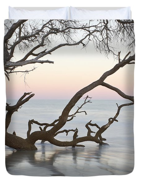 First Light - Hunting Island South Carolina Duvet Cover by Bill Swindaman