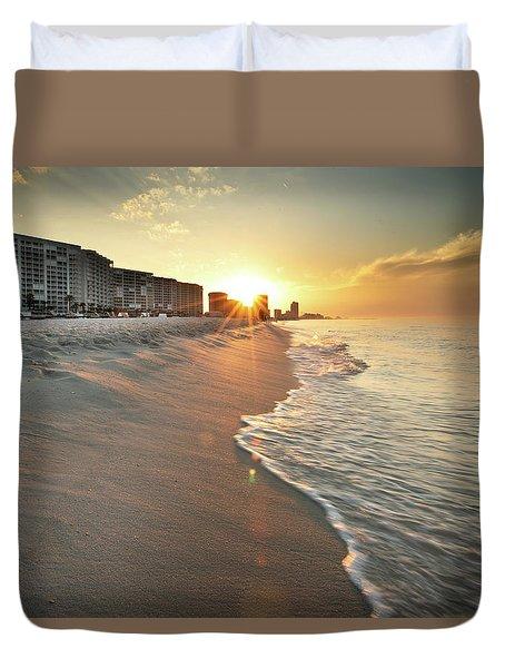 First Light On Orange Beach Duvet Cover
