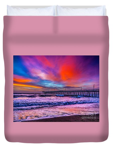 Duvet Cover featuring the photograph First Light On The Beach by Nick Zelinsky