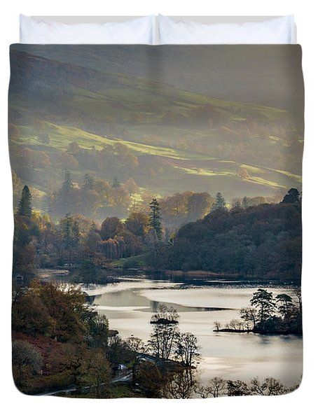 First Light Over Rydal Water In The Lake District Duvet Cover