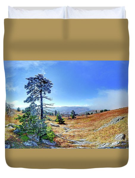 Duvet Cover featuring the photograph First Light Snow by George Randy Bass
