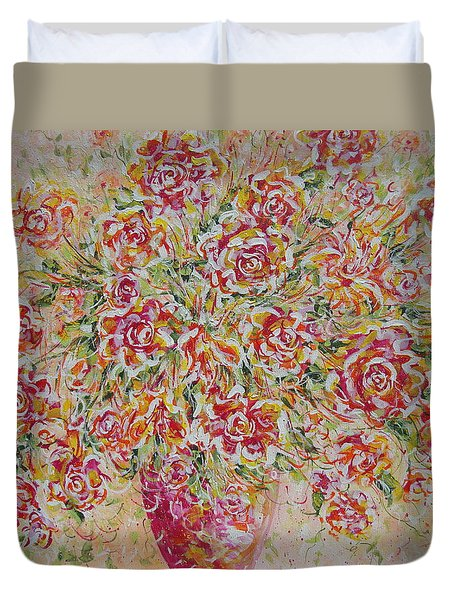 Duvet Cover featuring the painting First Love Flowers by Natalie Holland