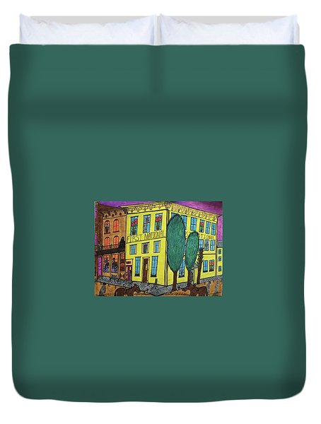 Duvet Cover featuring the painting First National Hotel. Historic Menominee Art. by Jonathon Hansen