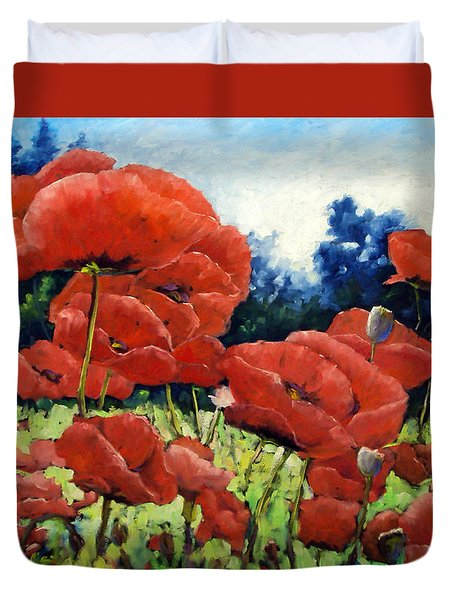 First Of Poppies Duvet Cover by Richard T Pranke