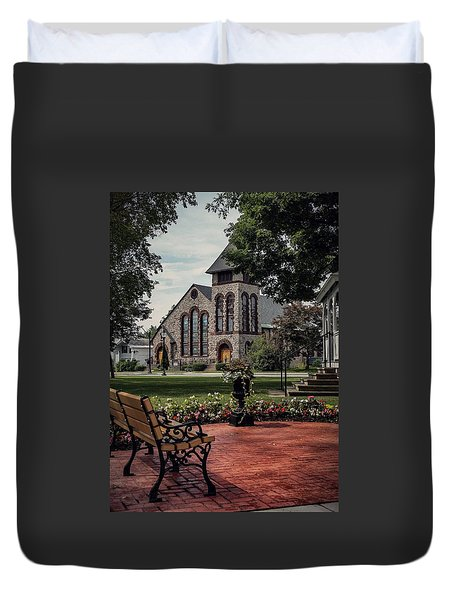 Duvet Cover featuring the photograph First Presbyterian Church by Kendall McKernon