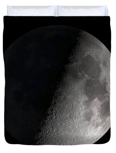 Duvet Cover featuring the photograph First Quarter Moon by Stocktrek Images