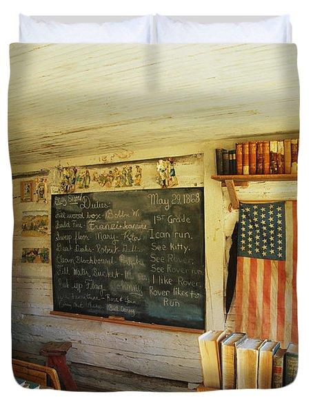 First School In Montana Duvet Cover