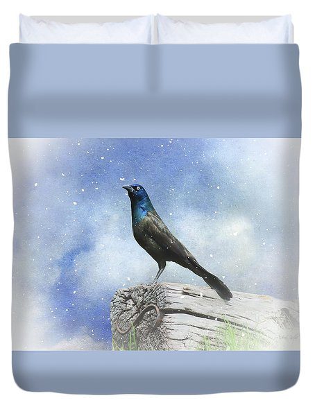 First Snow And Common Grackle Duvet Cover by Andrea Kollo
