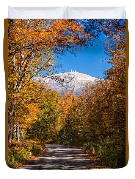 First Snow And Fall Foliage Mount Washington Duvet Cover