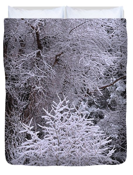 Duvet Cover featuring the photograph First Snow I by Ron Cline