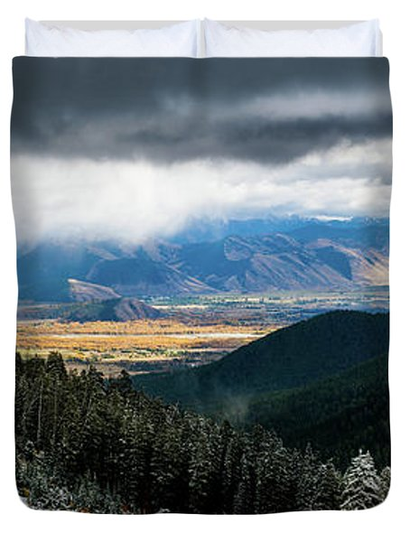 First Snow, Jackson From Teton Pass Duvet Cover