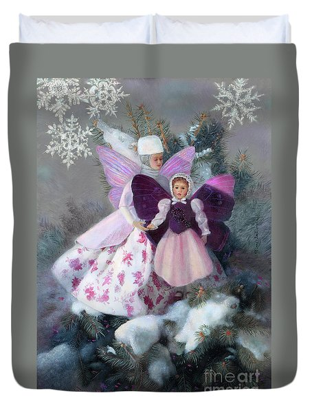 Duvet Cover featuring the painting First Snow by Nancy Lee Moran