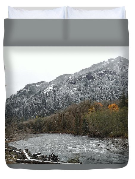 First Snow On The Elwha Valley Duvet Cover