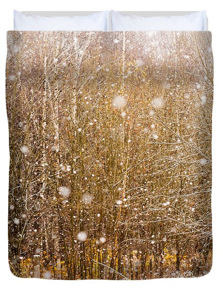 First Snow. Snow Flakes I Duvet Cover by Jenny Rainbow