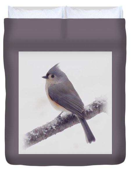 First Snow - Tufted Titmouse Bird Duvet Cover by MTBobbins Photography
